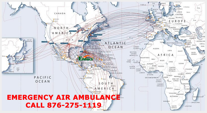 Air Ambulance Jamaica can fly you to over 135 different countries